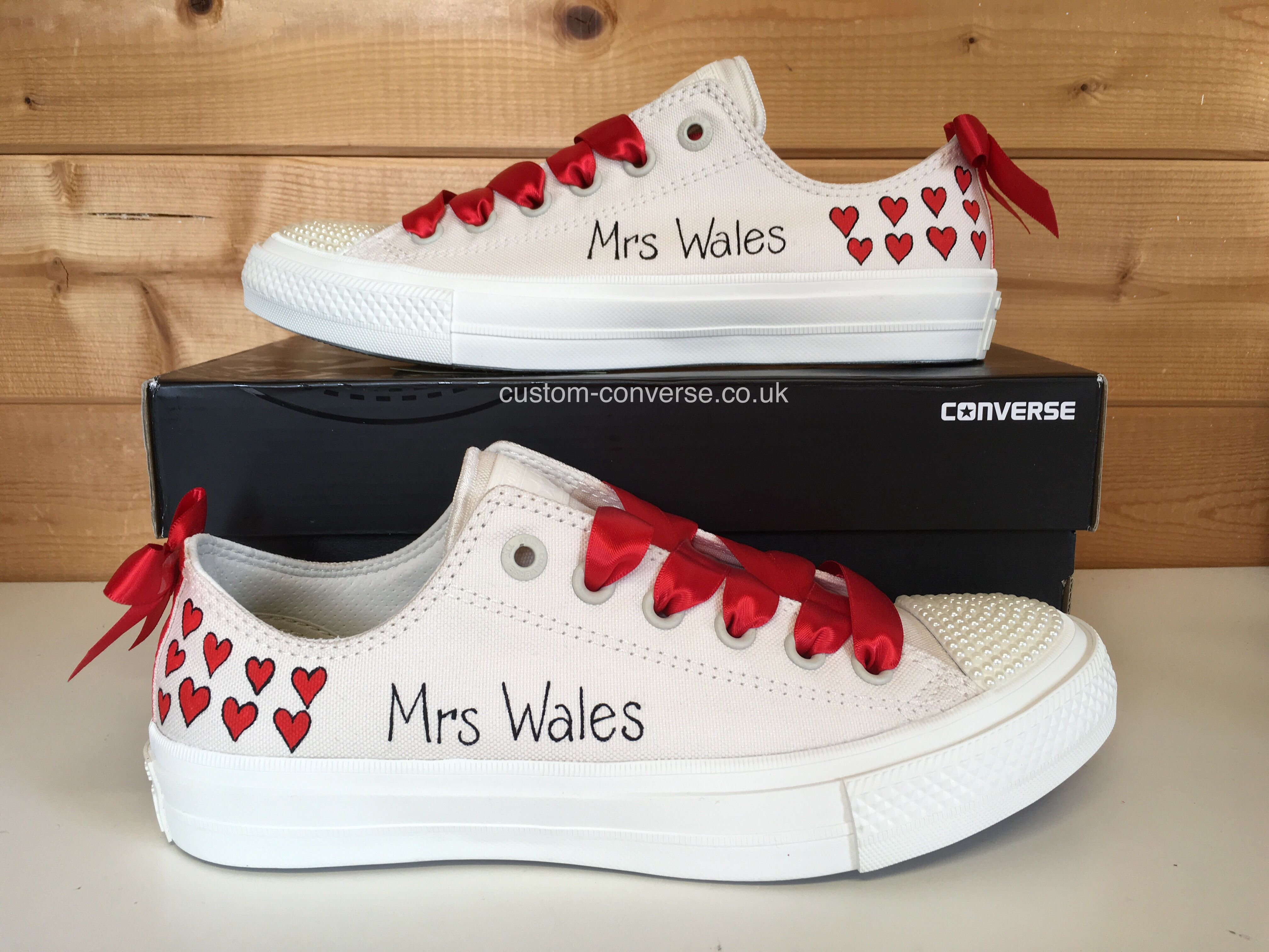 Chuck 2 bridal Hearts with red ribbon laces pearl toes and