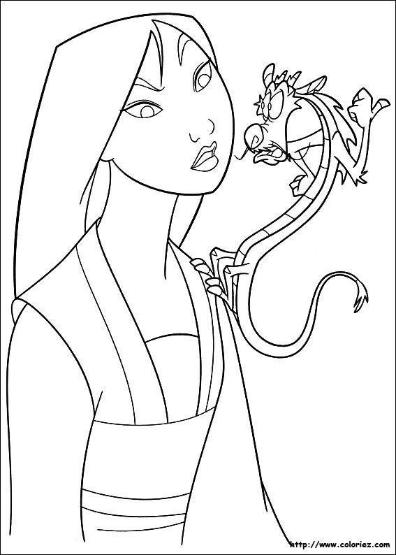 coloriage mulan   Meseszínezők   Pinterest   Disney y Dibujo