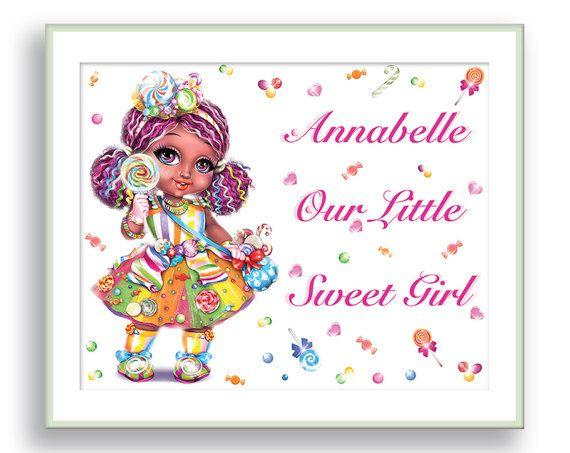 Personalized baby girl gift custom name african american girl personalized baby girl gift custom name african american girl nursery wall art lollipop girl art sugar negle Choice Image
