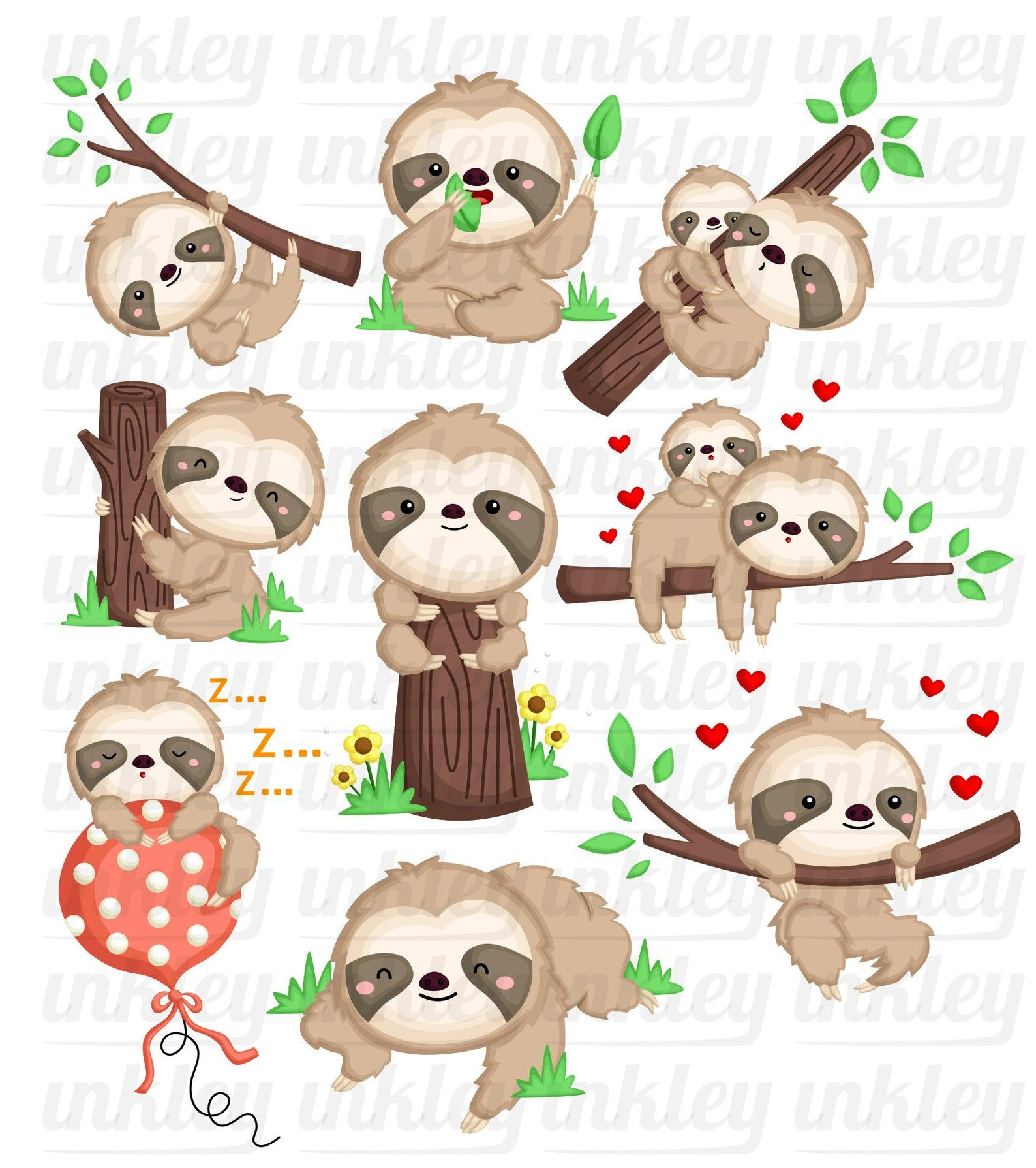 Cute Sloth Clipart Sloth On A Tree Clipart Cute Animal Etsy In 2021 Animal Clipart Free Cute Animal Clipart Animal Clipart