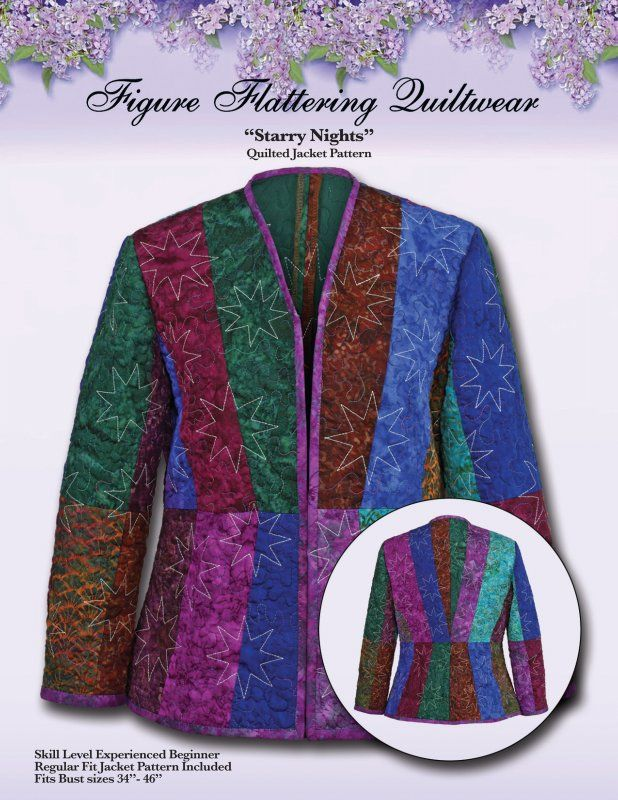 Starry Nights Quilted Jacket Pattern Quilt Projects Pinterest Jacket pattern, Quilted ...