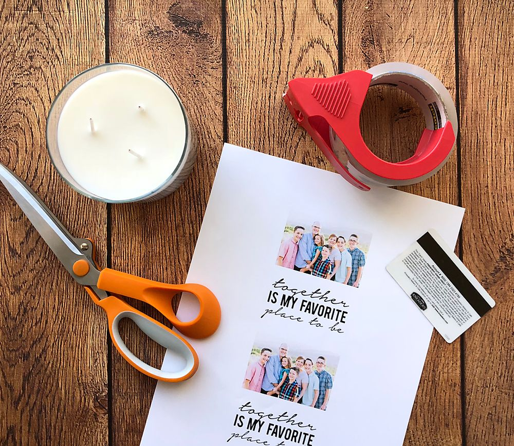 37d93f9082 Learn how to make gorgeous personalized candles with your favorite photo on  them with an easy packing tape transfer. Easy handmade gift idea only takes  ...