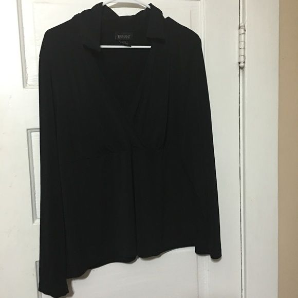 Lane Bryant black shirt Stretchy black polyester blouse with collar and V neck. Size 16/18** contact me for a custom bundle discount. Lane Bryant Tops Blouses