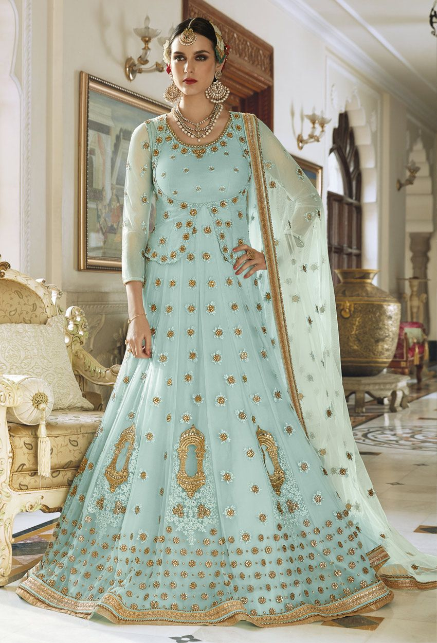 Light Blue Net Anarkali Suit | Pinterest | Anarkali suits, Anarkali ...