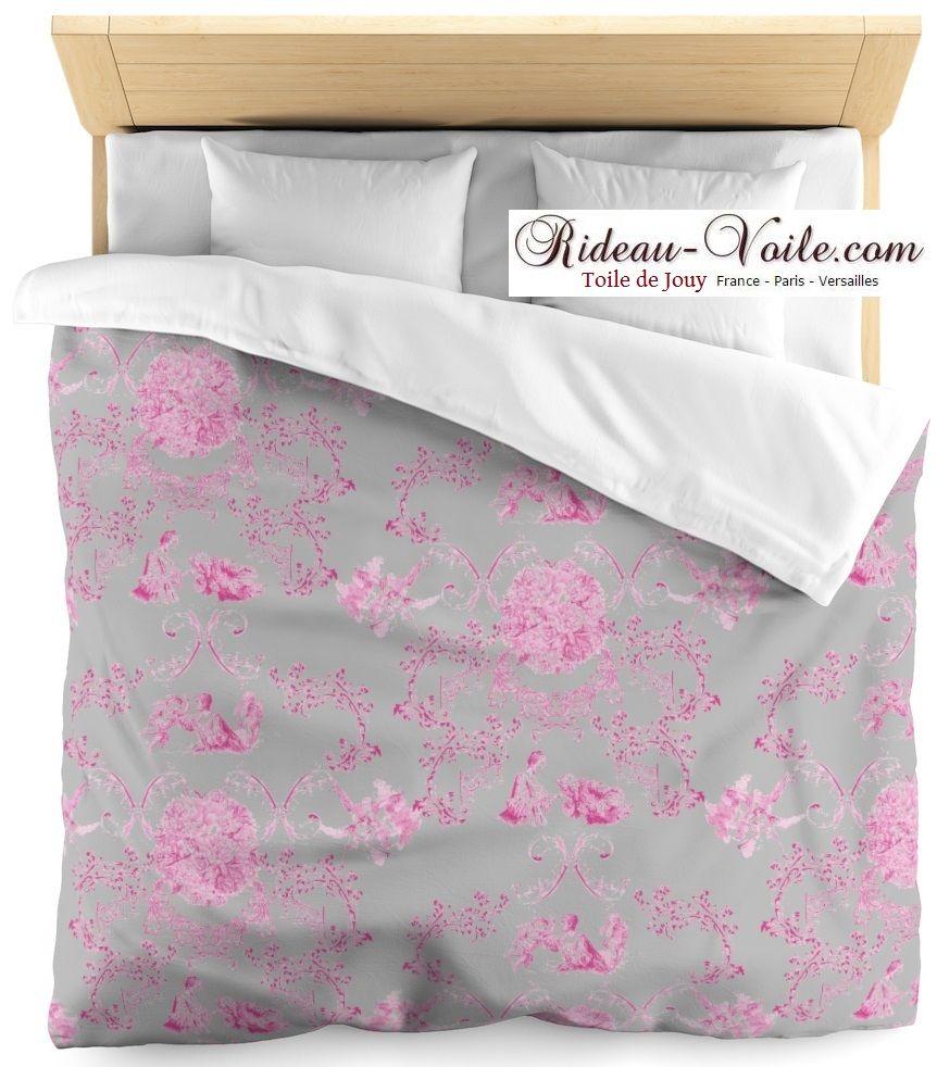 Collection Les Amoureuses Housse Couette Toile De Jouy Edition Limitee Fushia Rose Gris Tissu Toile De Jouy Tissus M Housse De Couette Toile De Jouy Toile