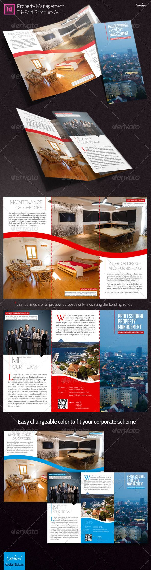 Trifold Brochure: Property Management — InDesign INDD #tri-fold #corporate • Available here → https://graphicriver.net/item/trifold-brochure-property-management/4054802?ref=pxcr