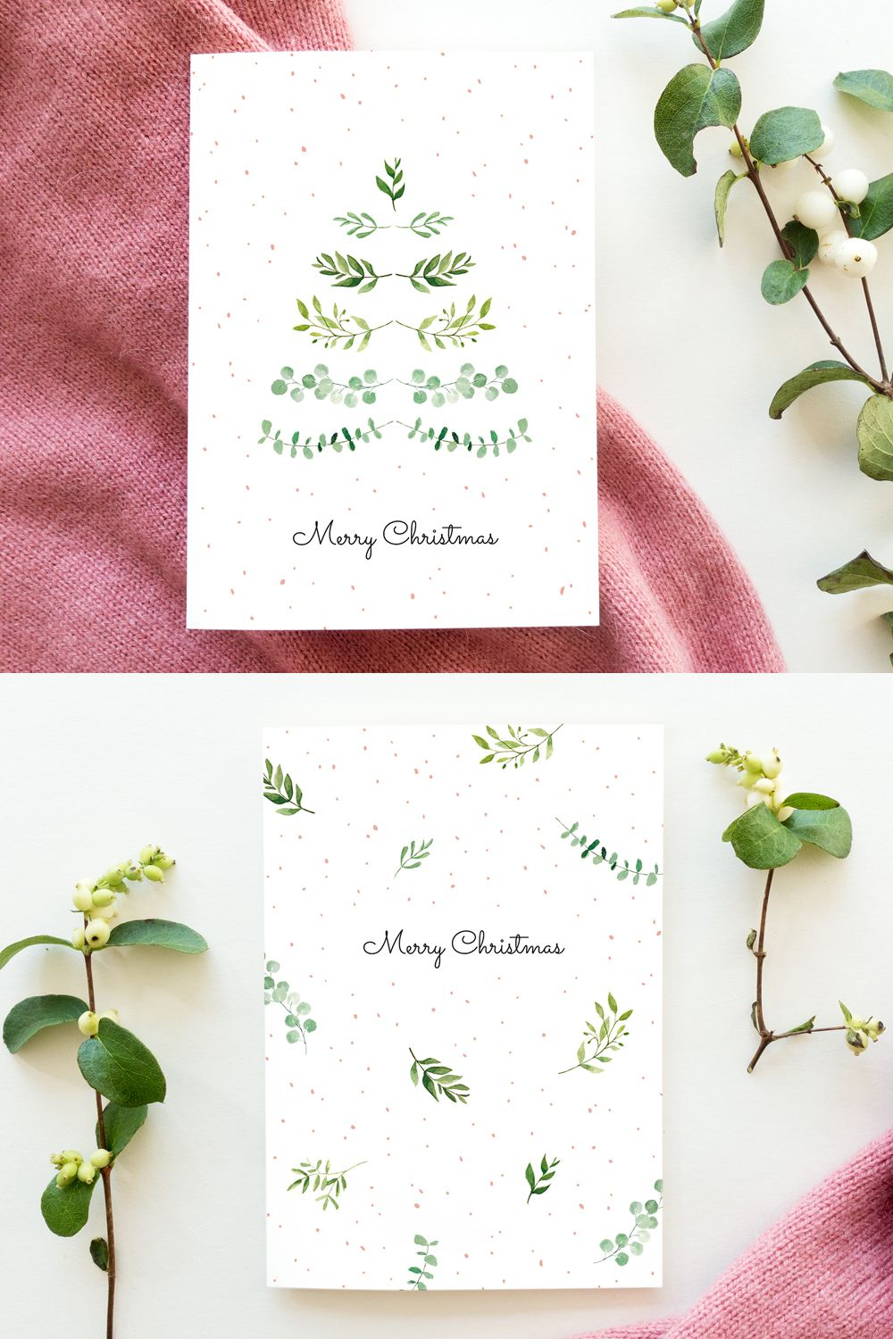 Christmas cards watercolor leaves