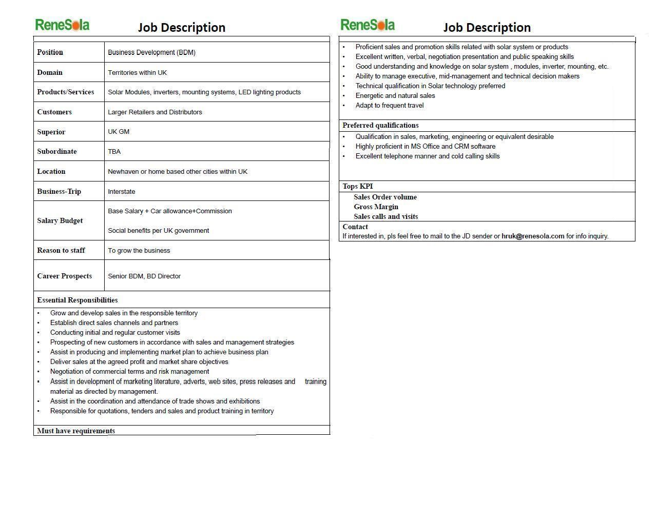 Job Description  Renesola Is Looking For Business Development