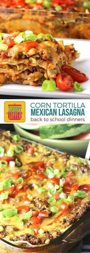 Mexican Lasagna with Corn Tortillas brings the whole family to the dinner table! It's a tasty South-of-the-border casserole the entire family will enjoy as it is loaded with tex-mex flavors and lots of gooey cheese and, of course, corn tortillas. Make ahead instructions included in this easy recipe that is perfect for back-to-school dinn