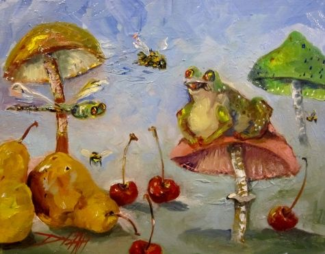 Frog,Dragonfly and Mushrooms with Pears Cherries and Bee, painting by artist Delilah Smith