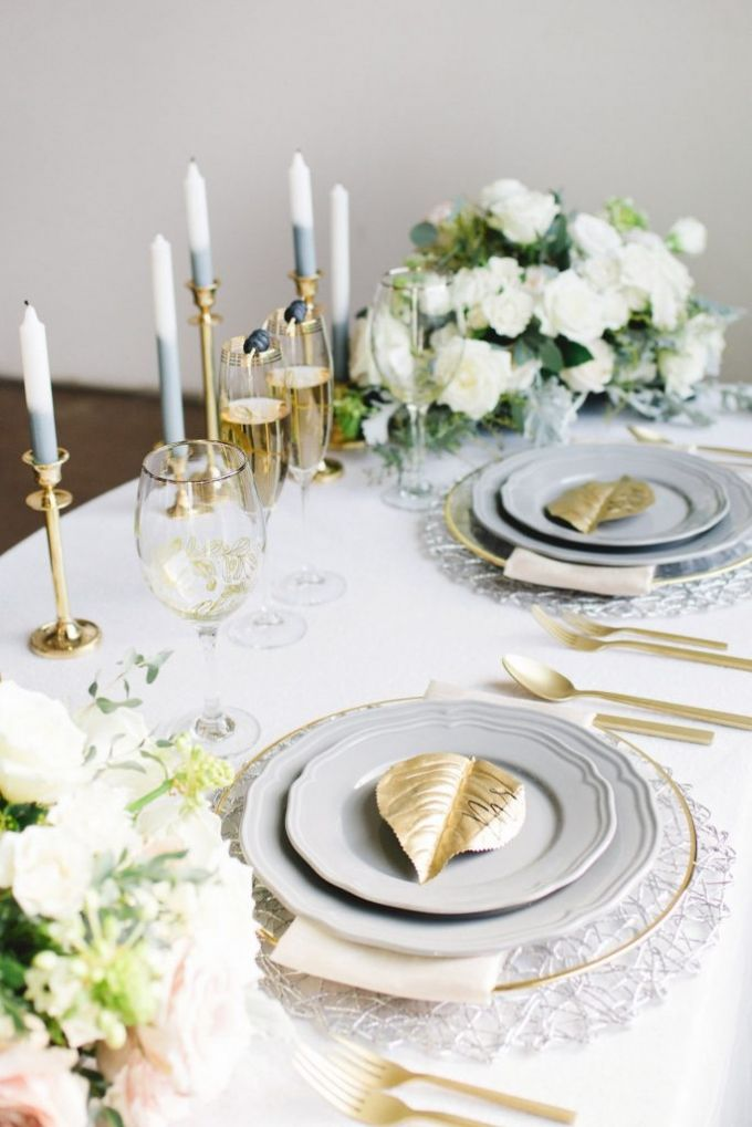 Grey plates and gold flatware table settings | classic luxurious ...