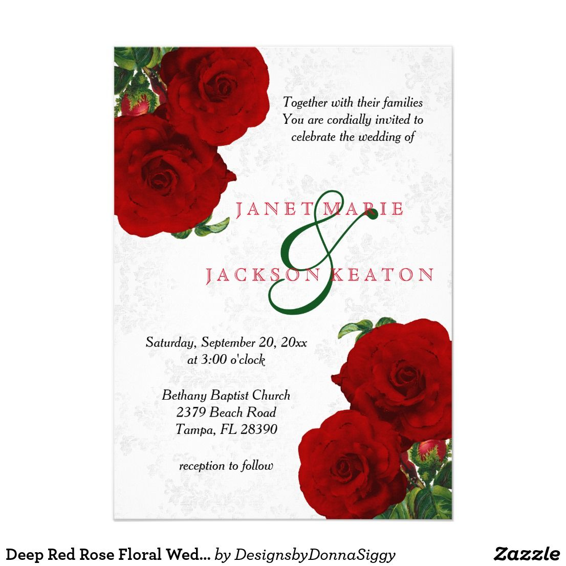 Deep Red Rose Floral Wedding Invitation | Stuff SOLD on Zazzle ...