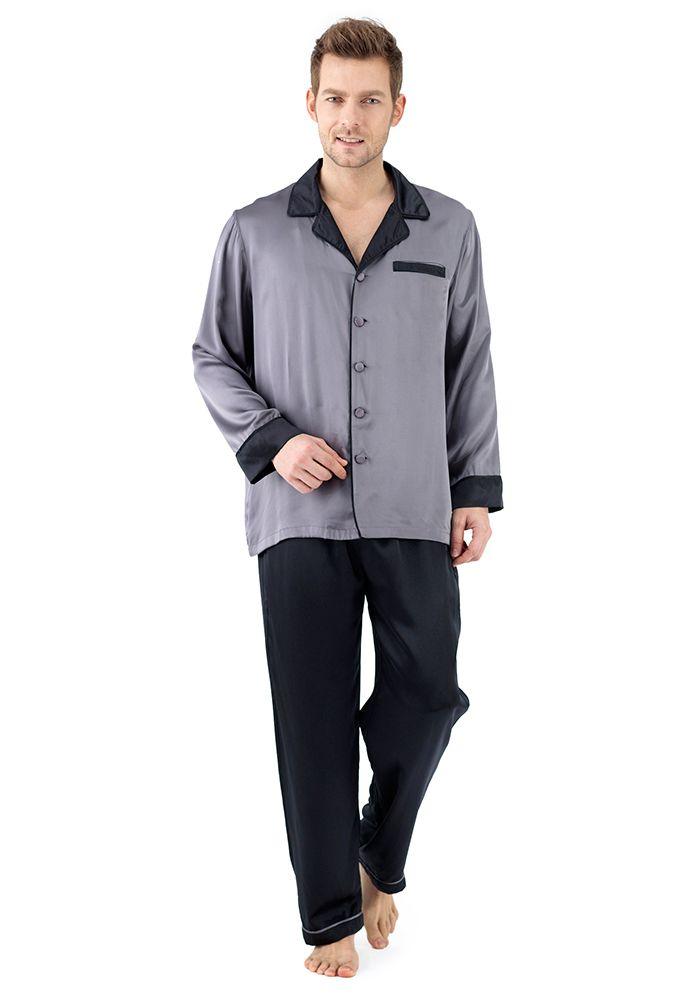 Silk men nightwear pajamas--Dark-Gray Black pajamas #Silk #pajamas ...