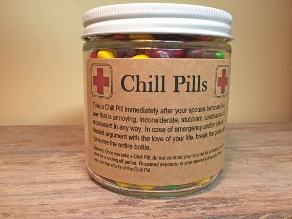 Chill Pill Jar With Tin Lid For SPOUSE MARRIED By