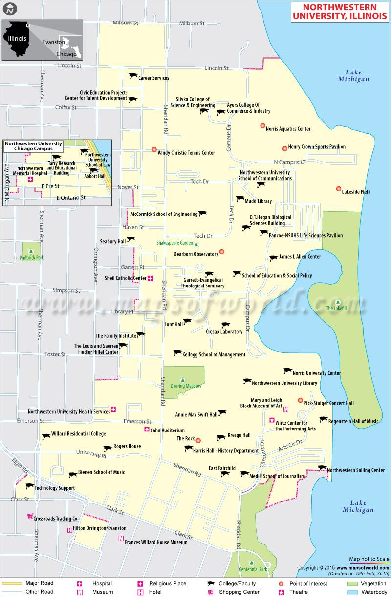 Illinois College Campus Map.Northwestern University In Illinois World Information
