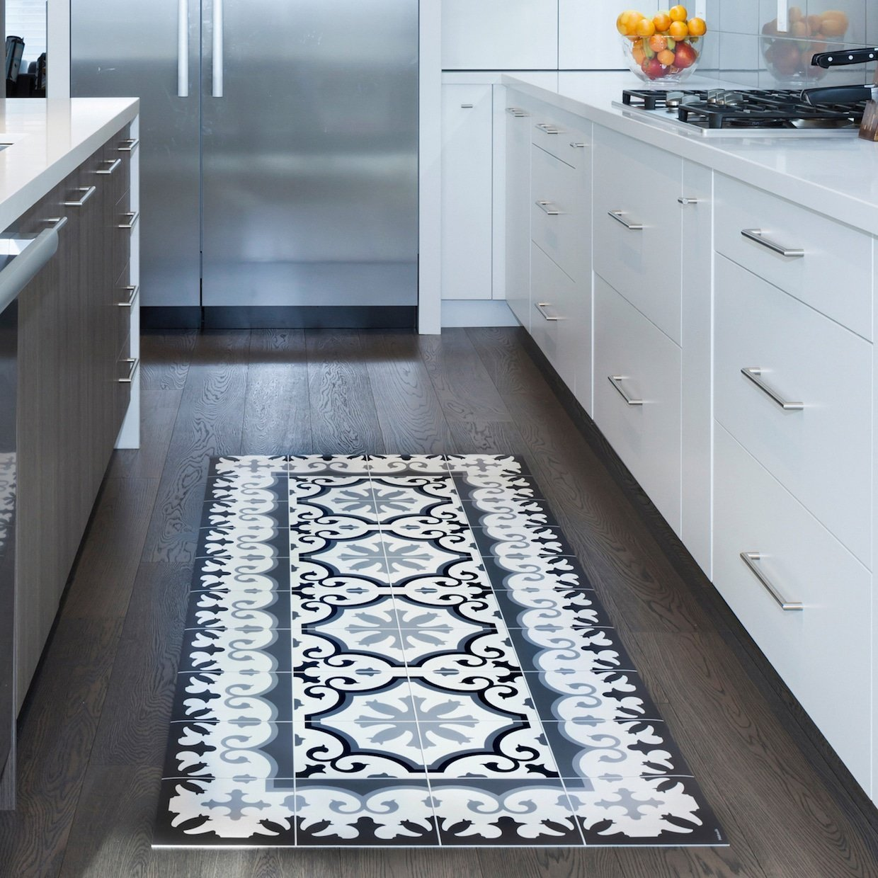 Download Wallpaper Blue And White Kitchen Mat