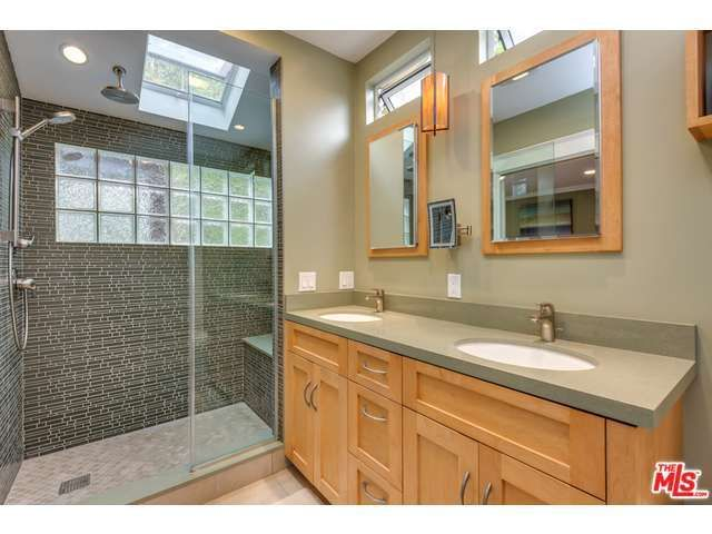 bathroom remodel - shower with skylight and frosted glass windows