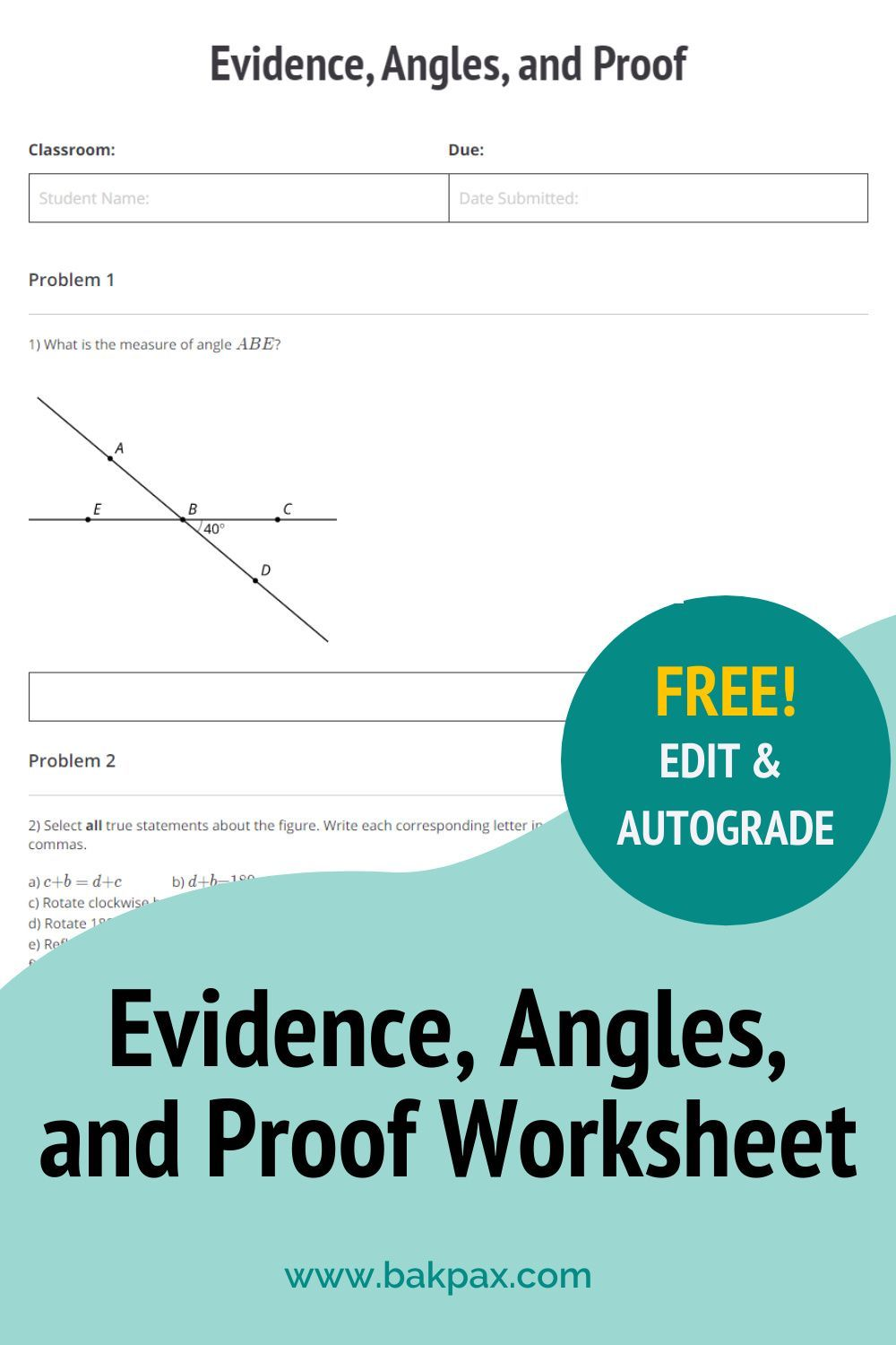Free Evidence Angles And Proof Geometry Worksheet Geometry Worksheets Geometry Proofs Worksheets