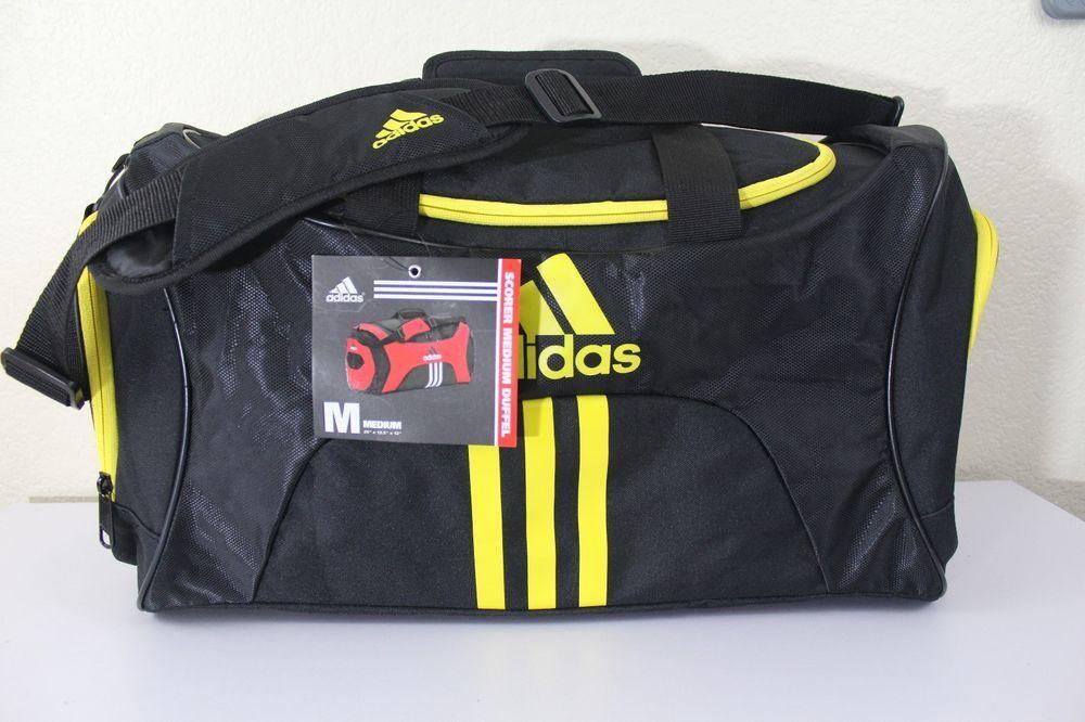 adidas scorer medium duffel gym bag new black 25