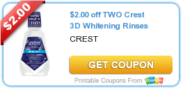 picture relating to Crest Printable Coupons named $2.00 off 2 Crest 3D Whitening Rinses Coupon codes