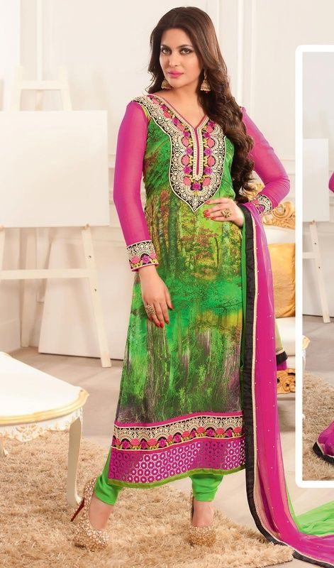 Design and style and pattern could be on peak of your splendor the moment you dresses this green and pink georgette printed churidar suit. The digital print, lace and resham work seems to be chic and great for any function.#NewDesignCasualDresses