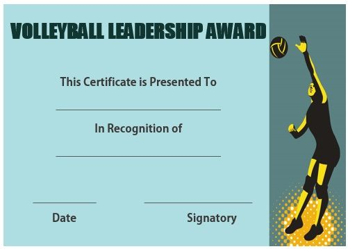 Volleyball Certificate Of Appreciation  Volleyball Certificates