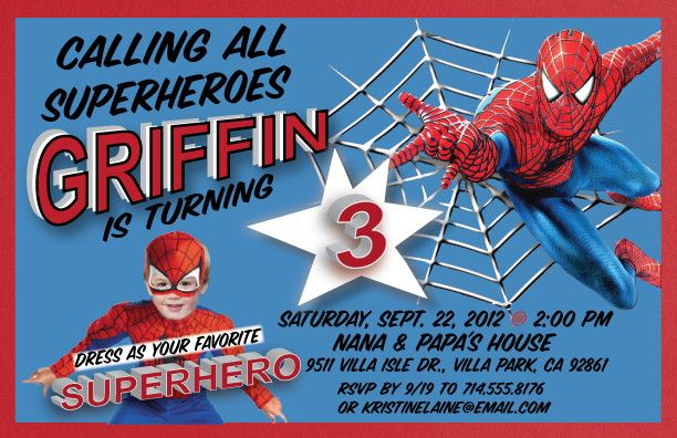 Nice Free Printable Birthday Party Invitation Template FREE - Spiderman birthday invitation template
