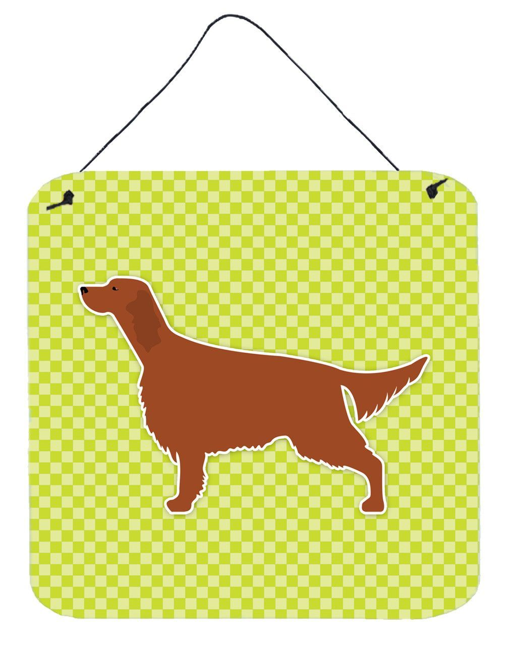 Irish Setter Checkerboard Green Wall or Door Hanging Prints BB3793DS66