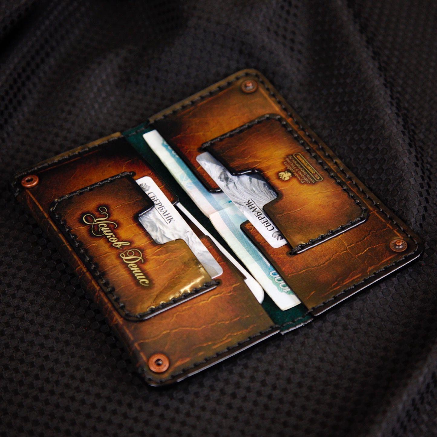 Купить Портмоне из кожи ручной работы c Орденом Бронзовой Лилии № 52i 6f39a7cfb22