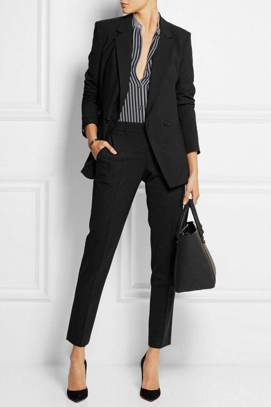Theory Satin-Trimmed Wool Pantsuit Clearance Footaction cN4sx0GP