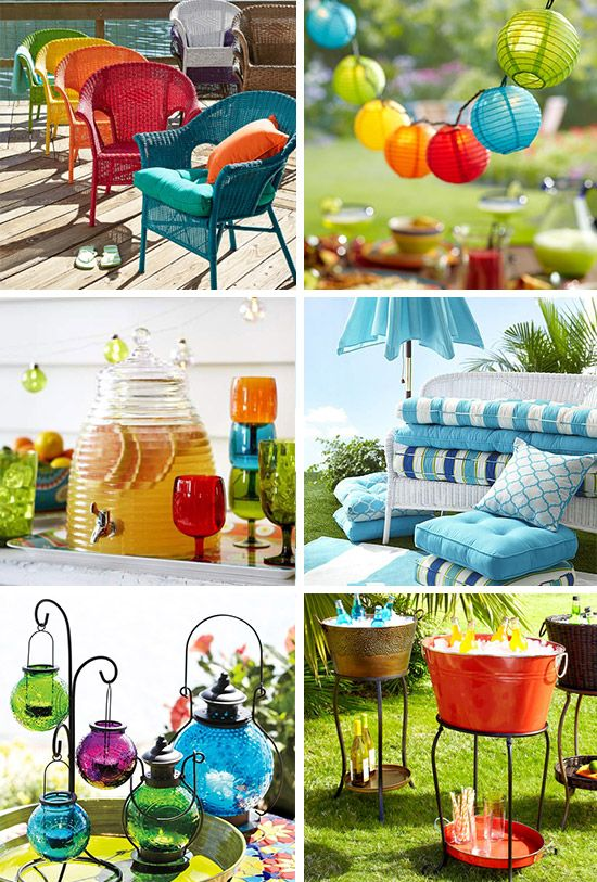 ideas para decorar el patio colores vibrantes y muebles modernos