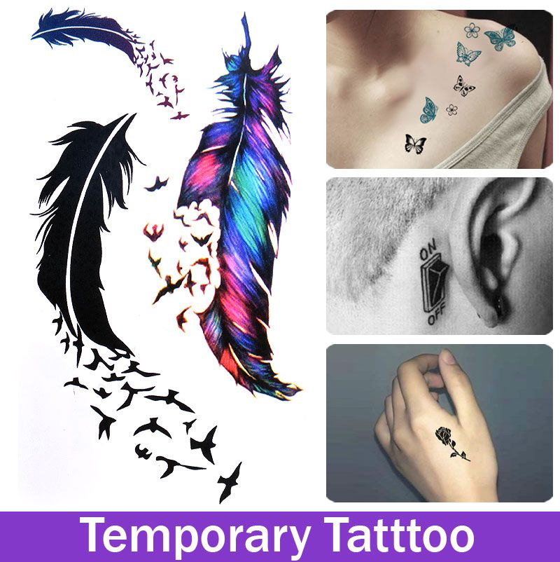 Feather Bird Flock Temporary Tattoo Waterproof Fake ...