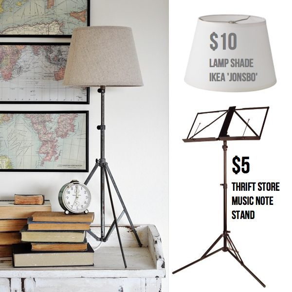 music stand ikea hack to make tripod lamp 15 diy pinterest lampadaires lampes et lampe. Black Bedroom Furniture Sets. Home Design Ideas