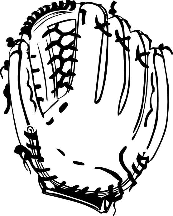 Baseball Glove 1 Black White Line Art Scalable Vector Graphics SVG ...