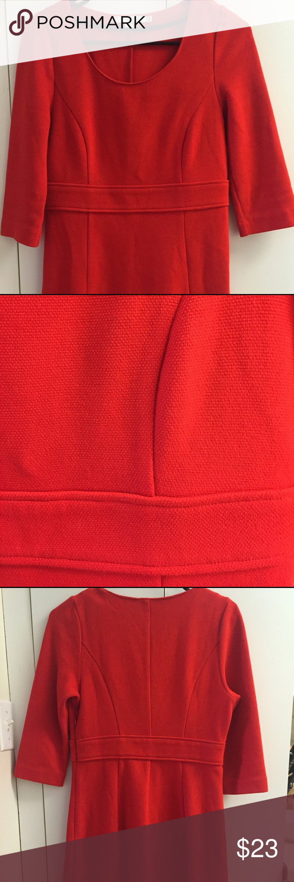 Red-Orange Boden Knit Shift Dress A great wardrobe classic - heavy knit with great weave. A-line waist. Color is a red orange - nice for multi season wear. More fitting shift-style dress. Boden sizes can vary - this dress would be a good fit for someone with a size 4 or 6 dress size. Boden Dresses