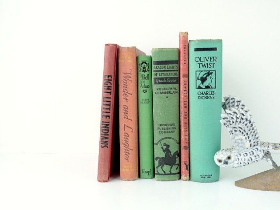 Childrens Vintage Book Collection Classic Oliver Twist Green Orange Red Kids Room Decor Childrens Books Photo Props Decorative Library