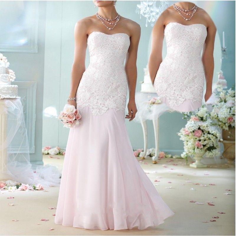 Women Plus Size Vestido de Noiva Strapless Lace Bodice Floor Length ...