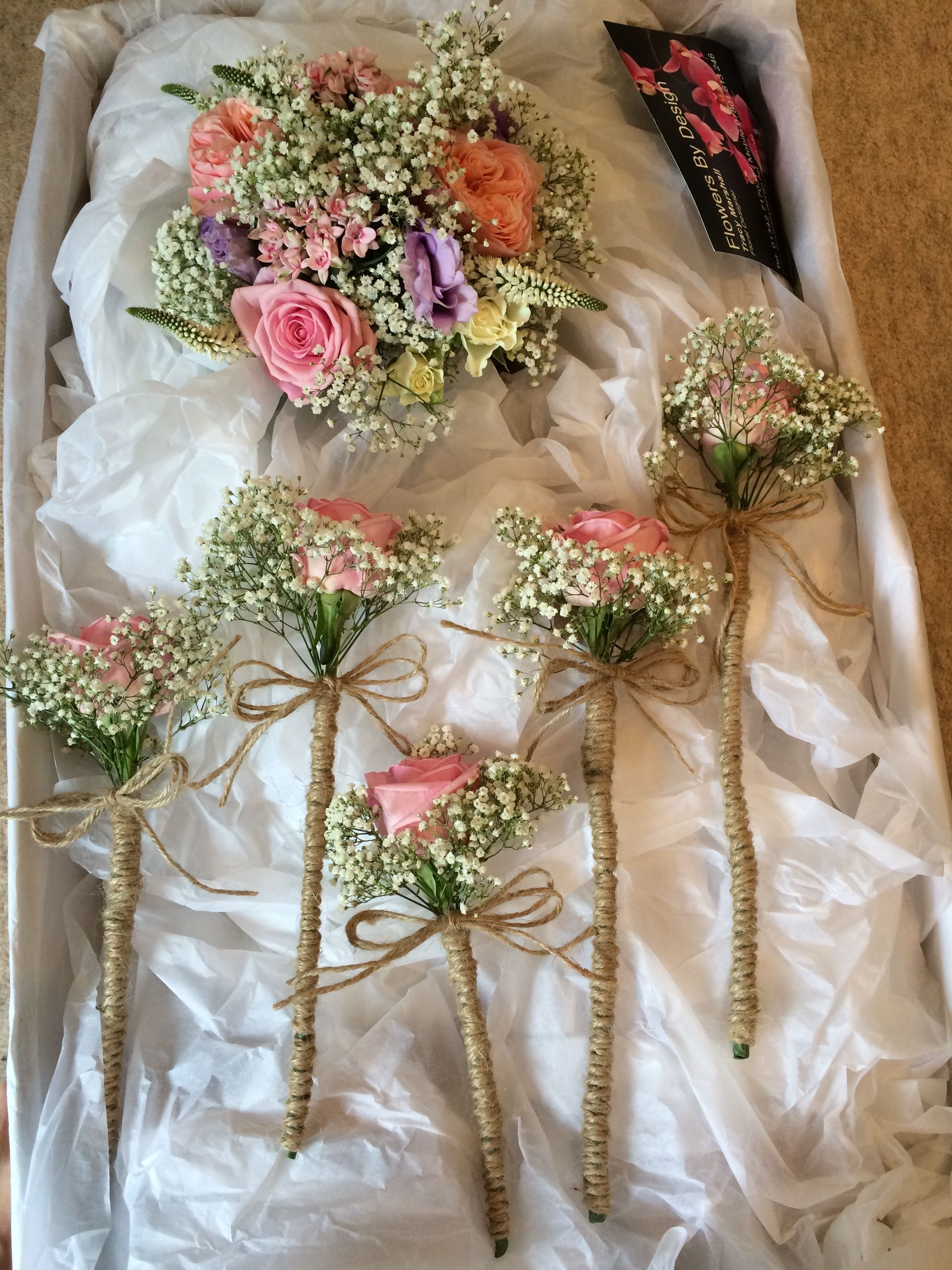 Stunning wedding bouquet and flower girl wands wrapped in hessian ...