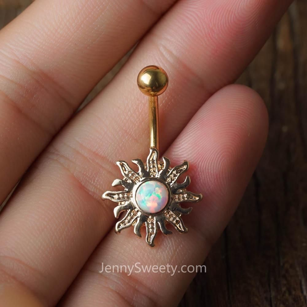 Belly button piercing stud  Opal Sun Belly Button Ring Belly Button Piercing Belly Rings Navel