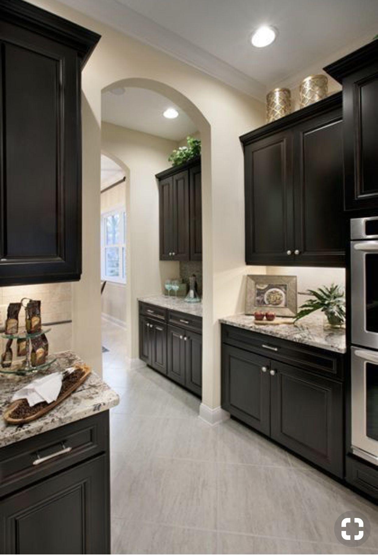Dark cabinets w/ light gray wood floors   Home decor ...