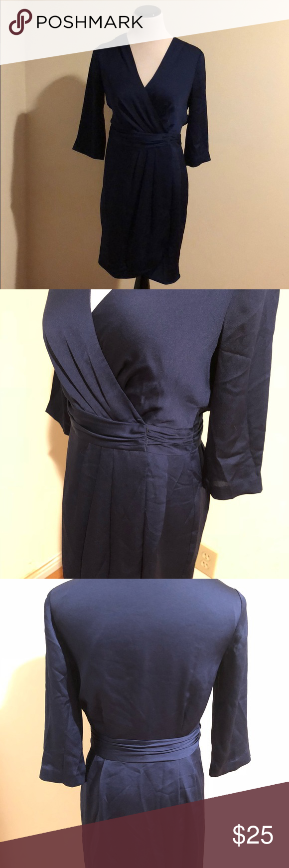 Banana Republic Navy Ruched Crossover Front Dress (With