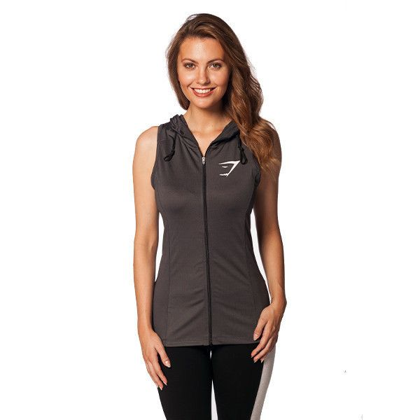 Gymshark Fit Perforated Sleeveless Hoodie - Graphite Women's tops ...
