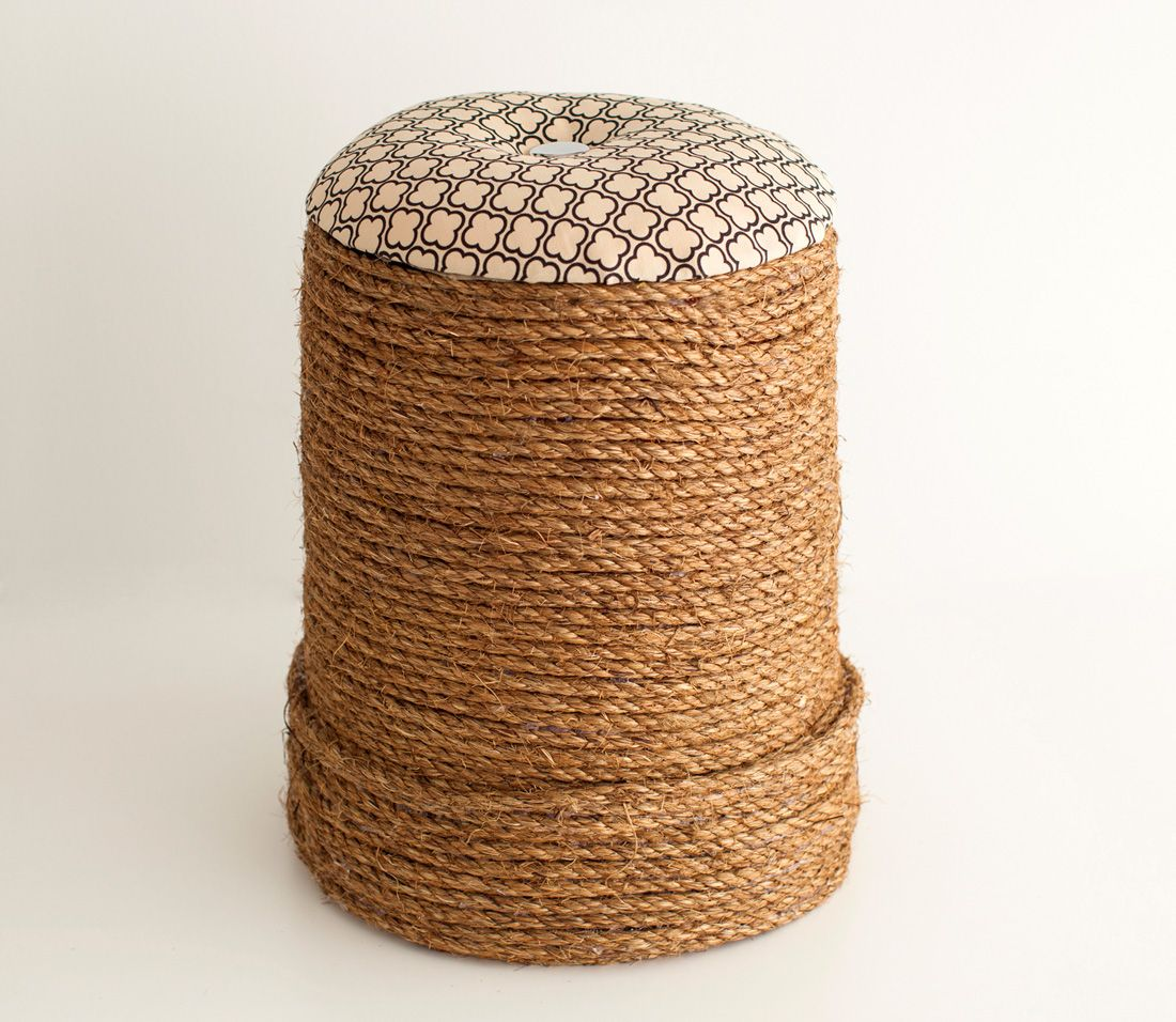 Brit + Co you out did yourself with this ottoman. You'd never know it was a Home Depot bucket! #homedecor