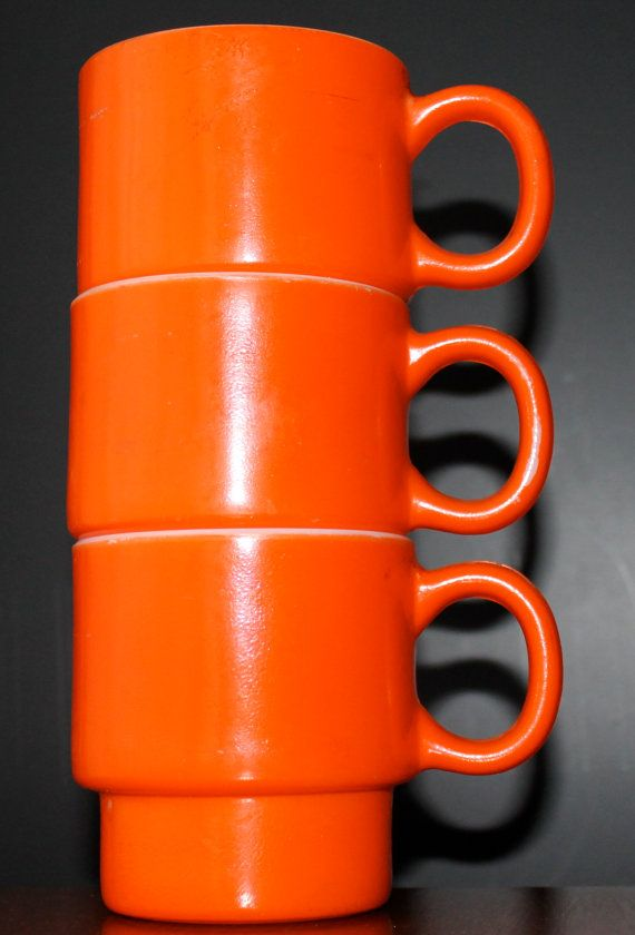 Orange Coffee Mugs Vintage TeaCups Retro Kitchen by EarthsTrove
