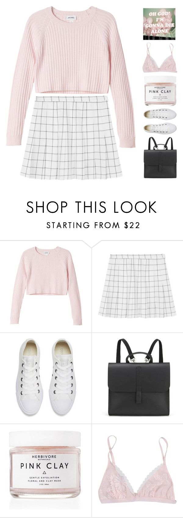 """""""77."""" by alisse-k ❤ liked on Polyvore featuring Monki, Converse, Danielle Foster, Herbivore and La Perla"""