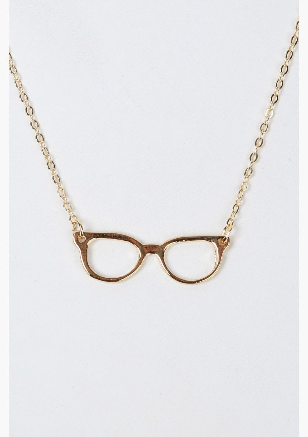 14adaf05597 A great dairy necklace that has NERD eye glasses pendant hanging on center.  Has thin gold chain and multiple holes for length adjustment.