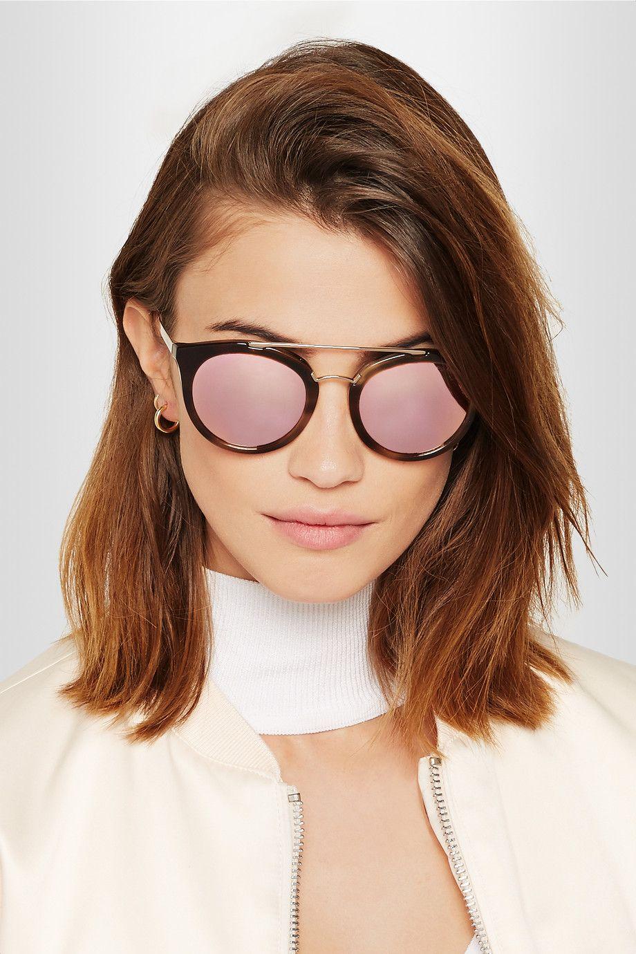 fed9beb8f0e ... switzerland prada cat eye acetate and gold tone mirrored sunglasses net  a porter bc1f1 4fd9e ...