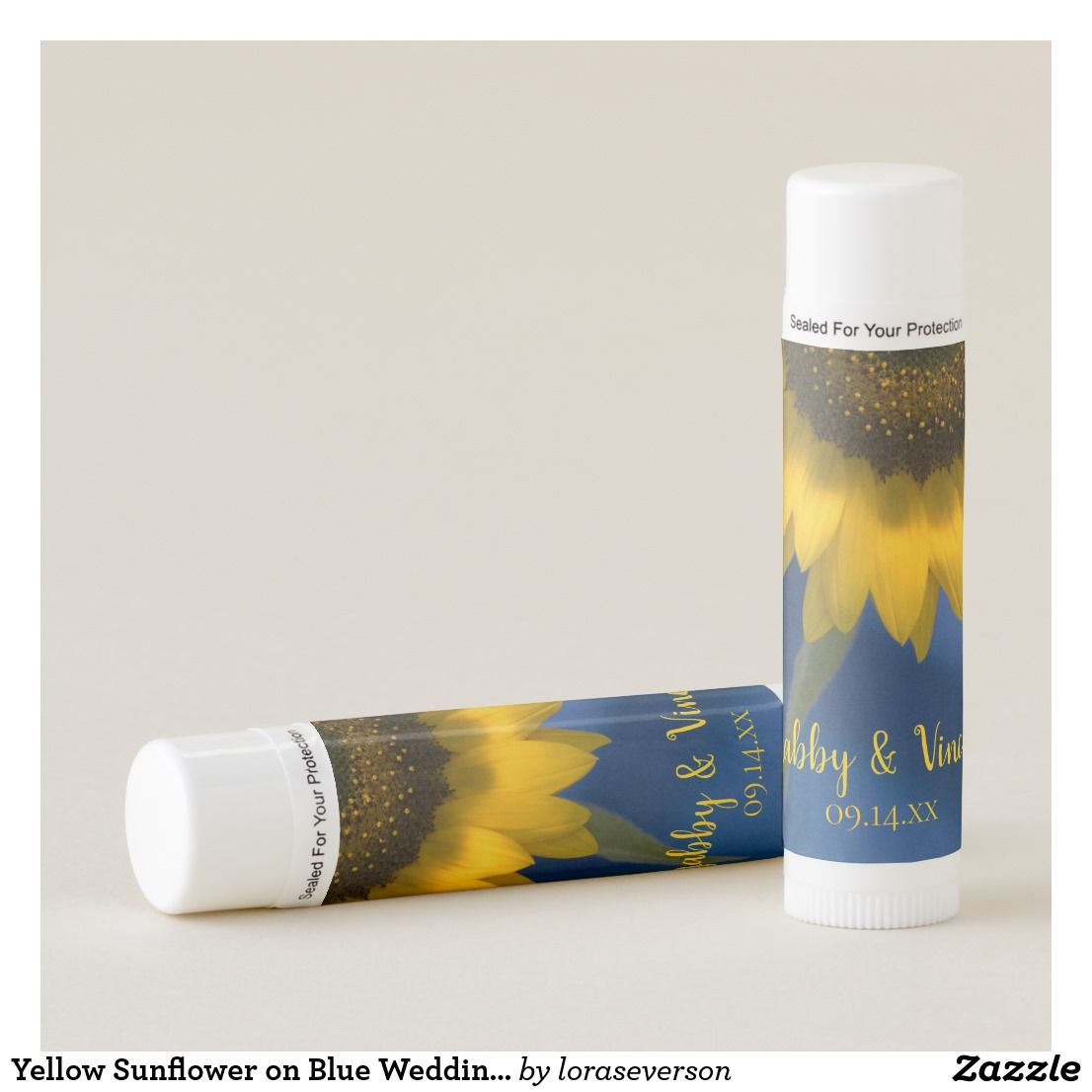 Yellow Sunflower on Blue Wedding Favor Lip Balm Personalize and date ...