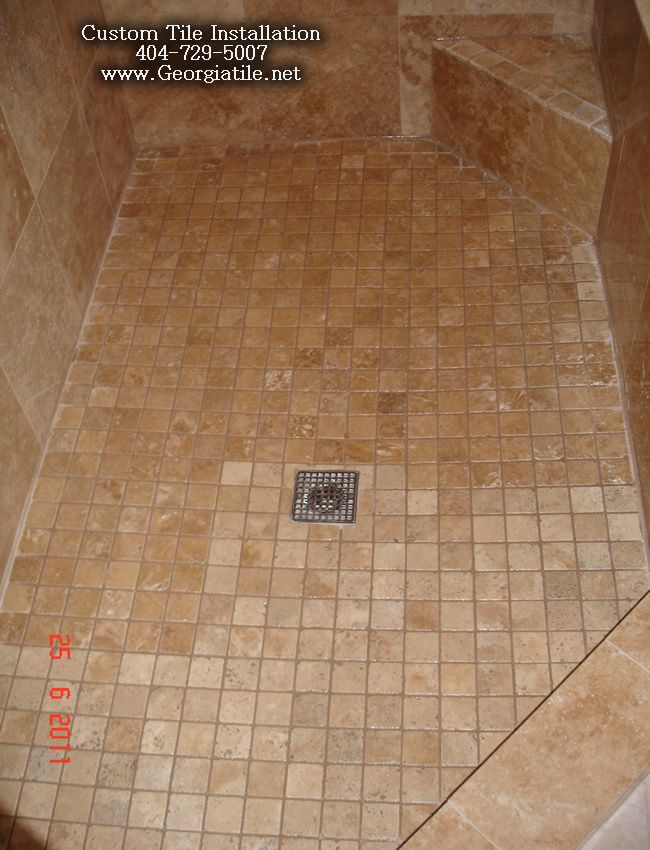 Bathtub tile designs travertine tub shower tile tub for Tile shower floor ideas