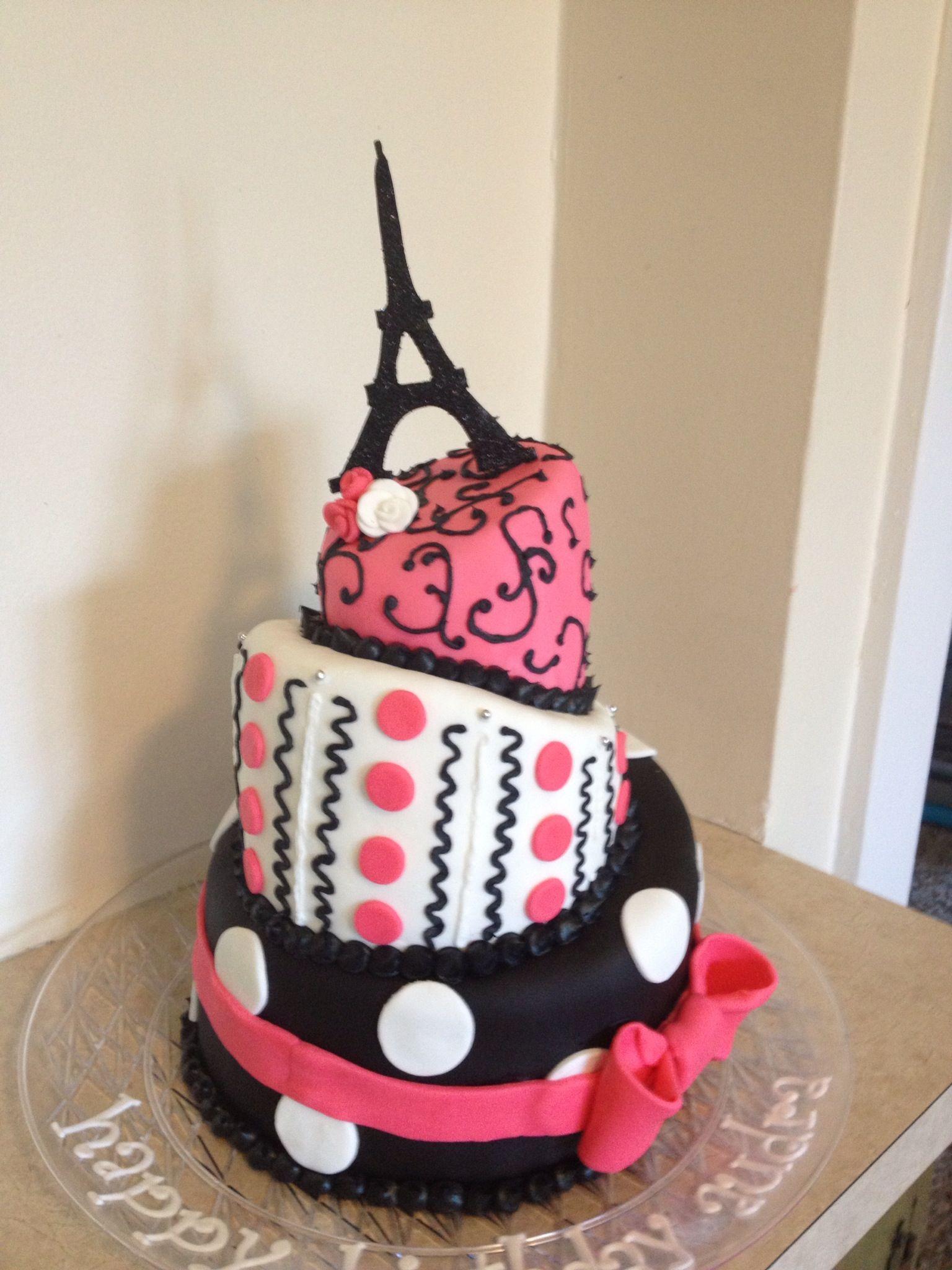 Paris Themed Topsy Turvy Birthday Cake Cakes I Have Made - Birthday cake paris
